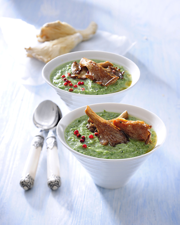 Spinach cream soup with fried oyster mushroom. 스톡 콘텐츠