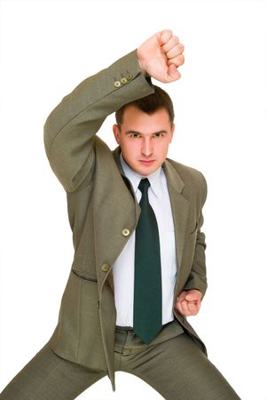 angry young man of business who does kung fu Stock Photo - 6187602