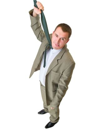businessman hanging by necktie with tongue photo