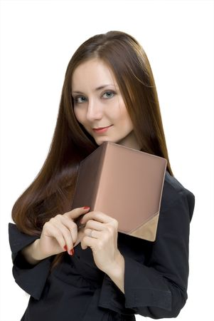 businesswoman with book on white background photo