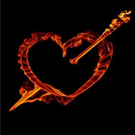 flechas curvas: coraz�n de fuego humo con flecha para el d�a de San Valent�n aislado en negro