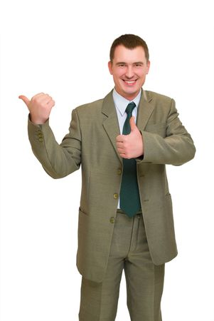 happy businessman pointed his finger left and thumb up isolated on white