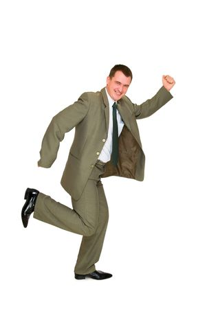 expressing:  happy young business man on a white background