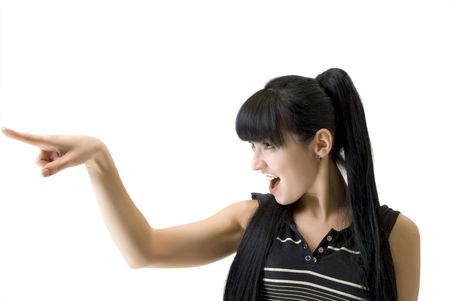 athletic woman pointing a finger in the direction Stock Photo - 6230202