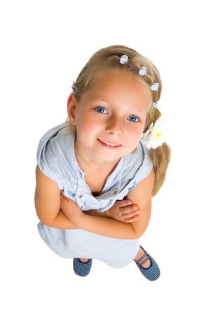 smile girl with long blonde hair hand knot isolated on white Stok Fotoğraf - 6230192