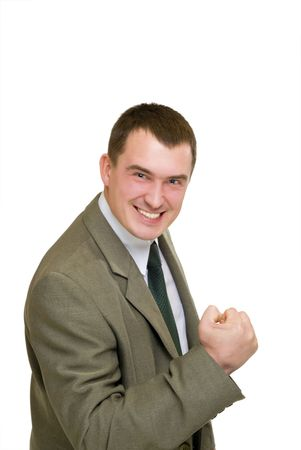smile success businessman say wow isolated over white  photo