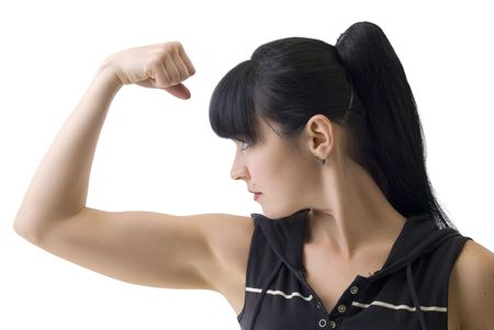 women with muscles show hand isolated on white