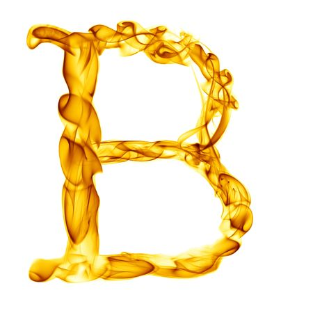 een titel brief van rook brand alfabet geïsoleerd op wit Stockfoto