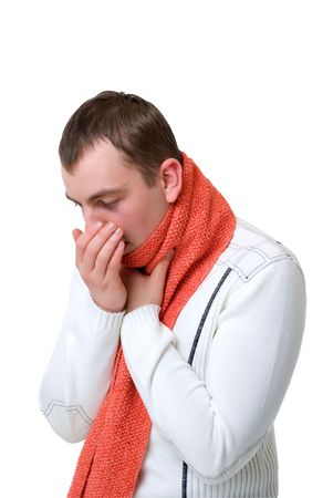 coughing: coughing sick man on a white background