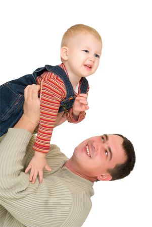 father and  son fly together isolated on white Stock Photo
