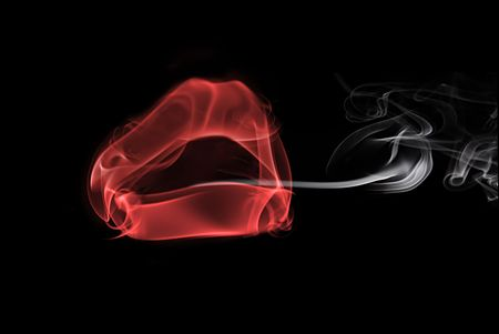smoke in the form of female lips, smoking a cigarette Banco de Imagens