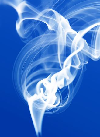 White incense smoke zen-like on blue, vertical