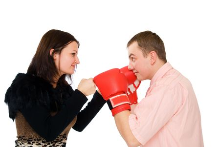 young man and woman boxing isolated on white Фото со стока