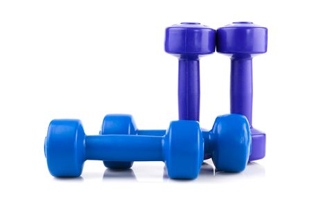 row of four color dumbbell  isolated on white Stok Fotoğraf