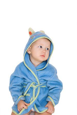 little baby dressing blue bathrobe isolated on white