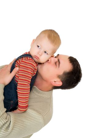 man kiss his son isolated on white