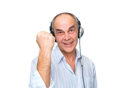 mature man in headphones show hand isolated on white