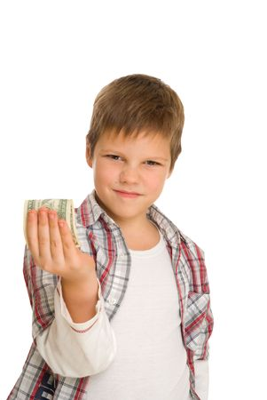 serious boy with dollar isolated on white Stok Fotoğraf