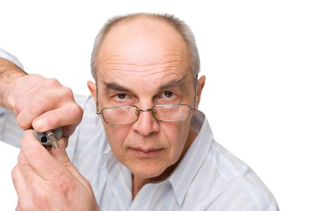 serious man in glasses with Screwdriver isolated on white