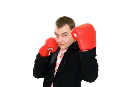 young smile businessman in boxing glove isolated on white