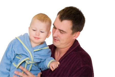 smile father hold  son dressing bathrobe isolated on white Stok Fotoğraf