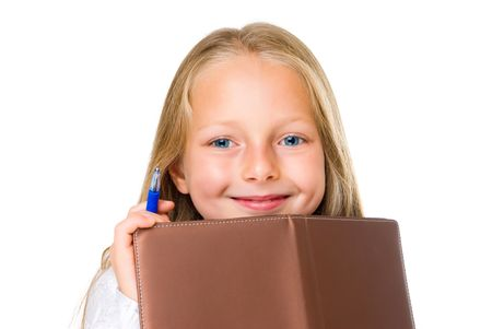 smile girl with pen  diary  isolated on white
