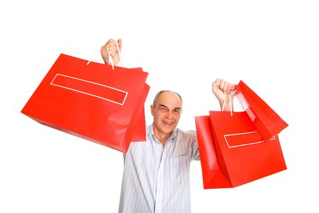 smile man bring lot of color paper bags isolated on white Stok Fotoğraf