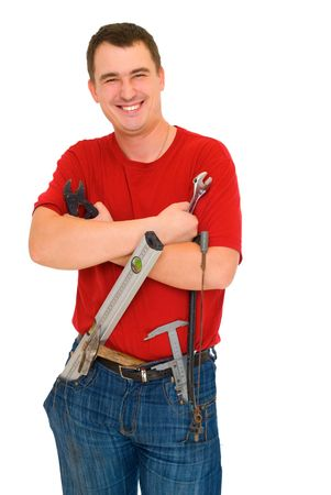 smile  worker with tools isolated on white Stok Fotoğraf