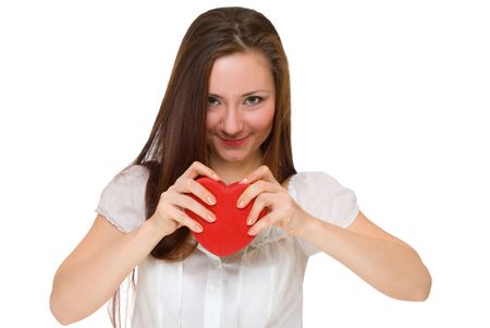 girl broke a red heart isolated on white Stok Fotoğraf