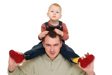 happy man hold his son  neck isolated on white photo