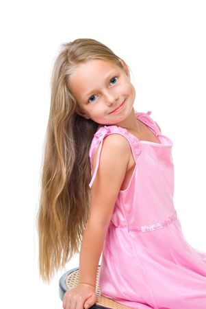 happy girl with long blond hair isolated on white Stok Fotoğraf