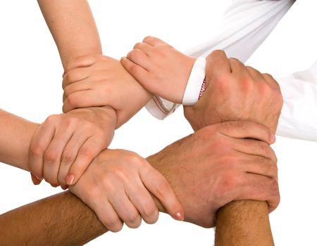 mains pri�re: mains d�tenant que chacun des autres isol�es sur blanc