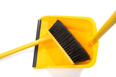 Dustpan and broom isolated on a white background Stok Fotoğraf