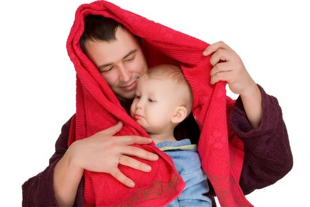 boy and man dressed  bathrobe and use towel isolated on white
