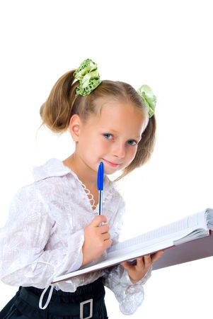 schoolgirls: blond girl with diary and pen isolated on white