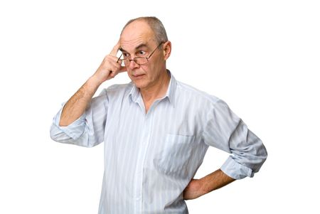 old people: adult men who got the idea isolated on white Stock Photo