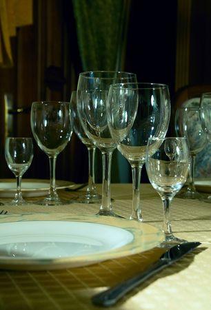 a restaurant table with cutlery Stok Fotoğraf