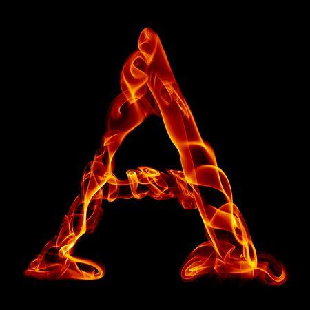brief van de ene titel van rook brand alfabet geïsoleerd op zwart Stockfoto