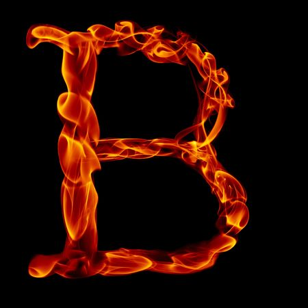 flame letters: one title letter from smoke  fire alphabet isolated on black