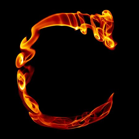 one title letter from smoke  fire alphabet isolated on black photo
