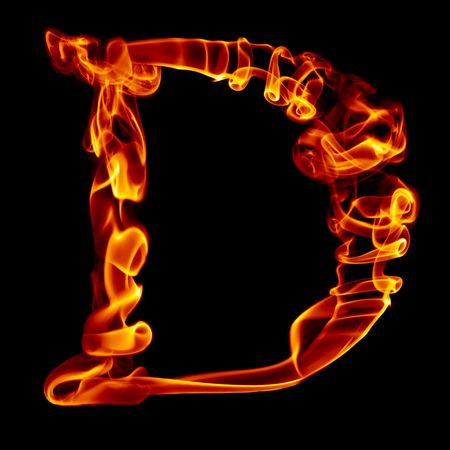 fire: one title letter from smoke  fire alphabet isolated on black
