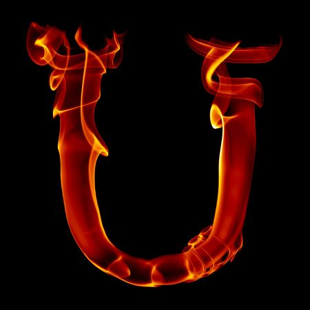黒に分離された煙の火アルファベットからの手紙を 1 つのタイトル 写真素材
