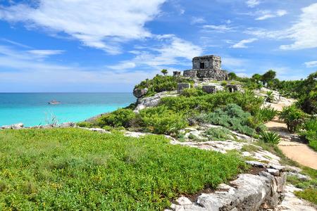Ancient Mayan ruins Tulum Caribbean turquoise photo