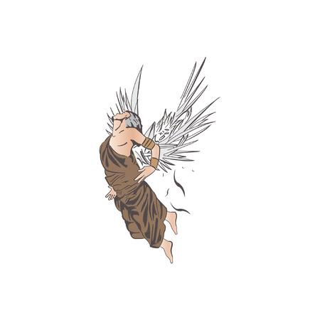 icarus: Flying angel illustration isolated on white background