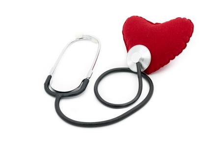 Medical stethoscope listening heart beats isolated on white