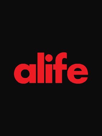 Alife text isolated on black background Illustration