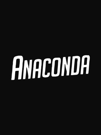 Anaconda text isolated on black background.Vector design