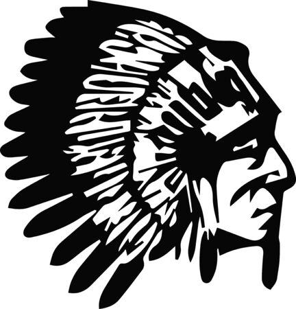 Profil de tête de chef indien amérindien. Logotype d'illustration vectorielle. Isolé sur fond blanc