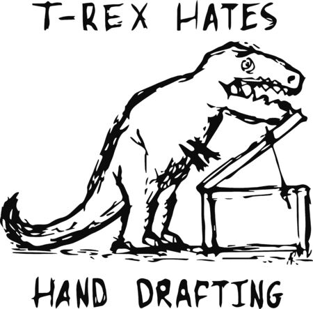 T-rex hates hand drafting.Sketch design.Vector design.Isolated on white background.