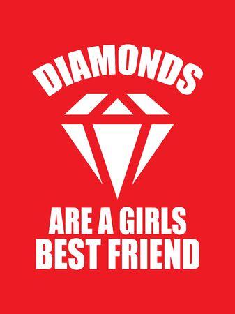 El diamante es un texto del mejor amigo de las niñas aislado sobre fondo rojo.Ilustración de vector de diamante sobre fondo rojo. Ilustración de vector